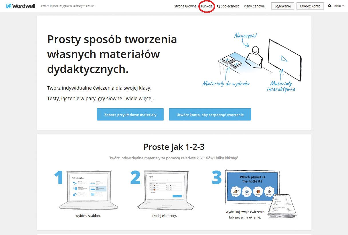Strona główna usługi Wordwall.